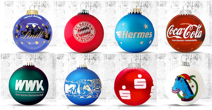 Christbaumkugeln mit Ihrem individuellem Logo. Made in Germany
