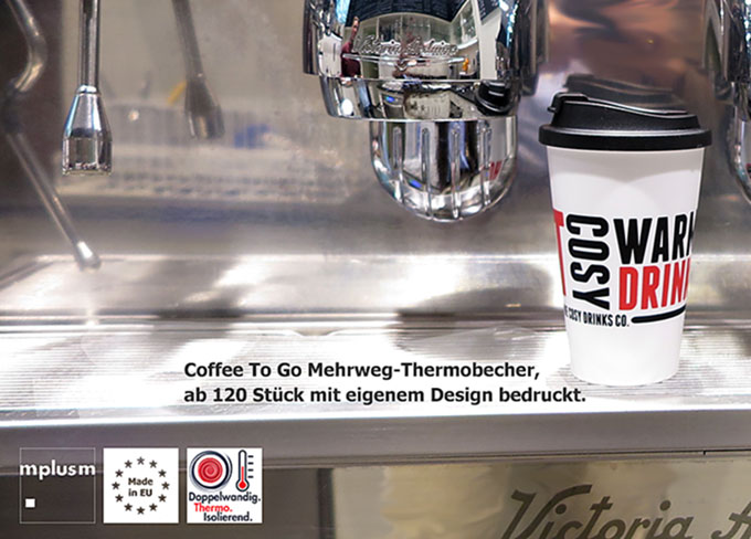 Coffee To Go Mehrweg-Becher aus Kunststoff. Made in Europe.