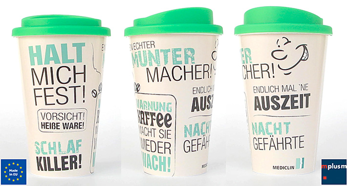 Coffee To Go Thermobecher bedrucken. Werbeartikel Made in Europe.