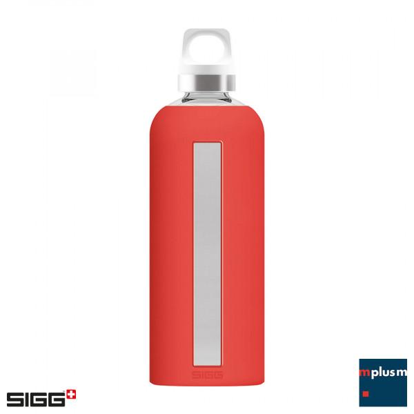 Rote, nachhaltige SIGG Trinkflasche Star aus Glas mit Schraubverschluss. Als Werbeartikel mit Logo Gravur.