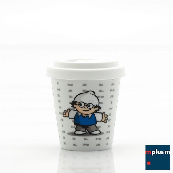Kleiner nachhaltiger Mehrweg Coffee To Go Becher aus Porzellan. Eigenes Design ab 250 Stück..