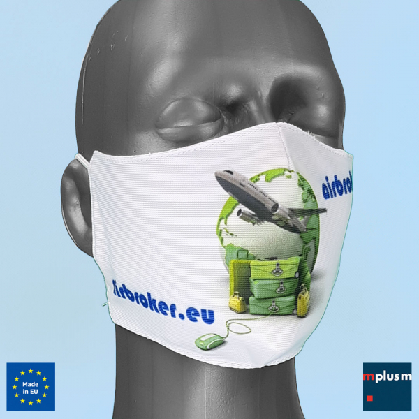Preiswerte Anti Corona Gesichtsmaske komplett mit Logo oder Motiv bedrucken. Kurze Lieferzeit. Aus Europa.