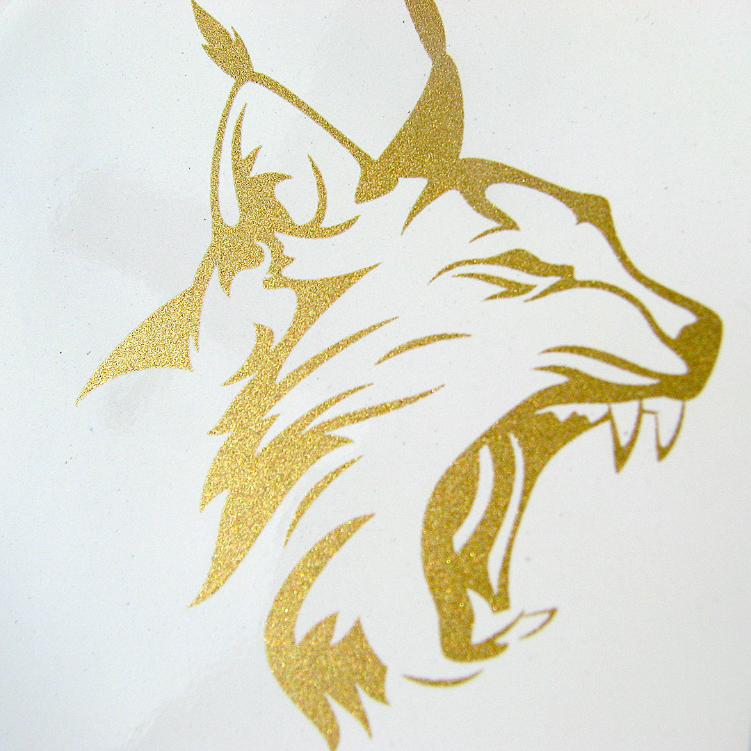 Emaille Tasse mit Logo in Gold