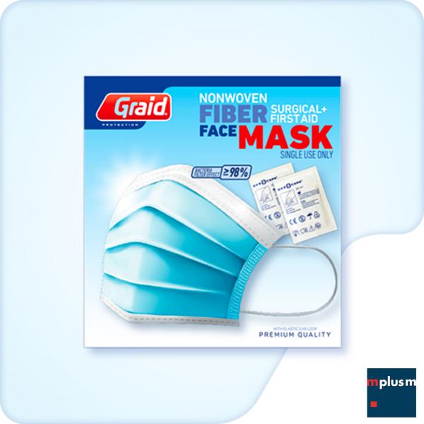 Mundschutz OP Maske in Medizinqualität, einzelverpackt im versandfähigen Einzelkarton. Auch mit individuellem Logo Label lieferbar. Mailing Werbeartikel.
