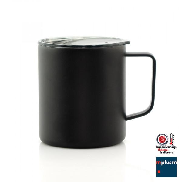 Super Isolierung: Thermo Kaffeetasse aus doppelwandigem Edelstahl. Hält die Temperatur perfekt und ist schön mit Logo zu bedrucken.