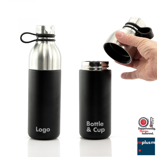 Thermosflasche und Thermobecher in Einem: Combi Sports als Werbeartikel mit Logo bedrucken
