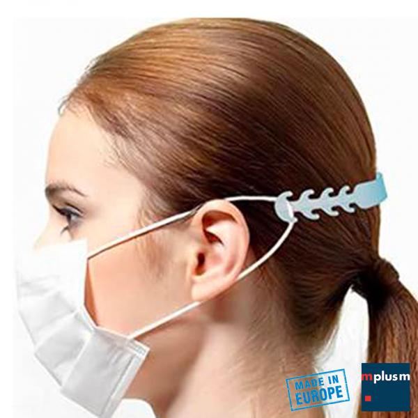 Maskenhalter und Größenverstellung für Mundschutz oder Gesichtsmaske mit Ohrenschlaufen mit einfachen Clip. Aus Europa und mit Logo zu bedrucken.