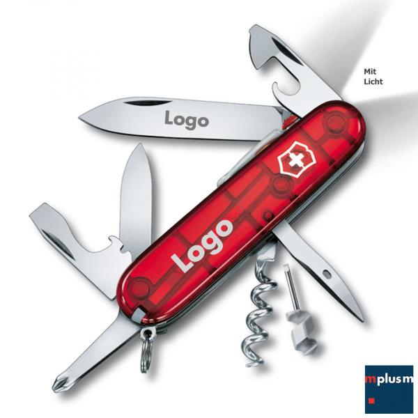 Victorinox Spartan Taschenmesser als nachhaltiger Werbeartikel mit LED Leuchte und Logo Druck.