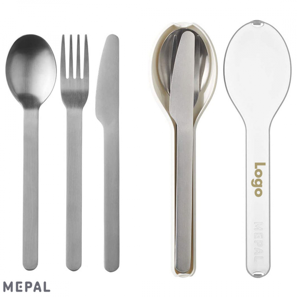Schön und nachhaltig: Mehrweg Besteck für das Essen Unnterwegs. Mepal Ellipse To Go mit Logo Druck.
