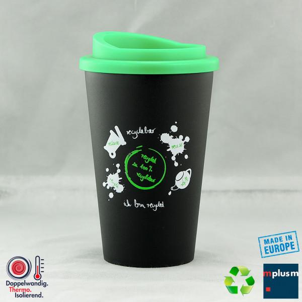 Nachhaltiger Coffee To Go Thermobecher aus Reecycling Material. Als Werbeartikel mit individuellem Logo zu bedrucken.