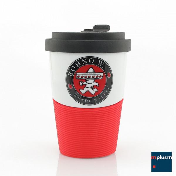 Coffee To Go Mehrwegbecher aus Porzellan. Bono ist schön mit Logo oder Motiv zu bedrucken.