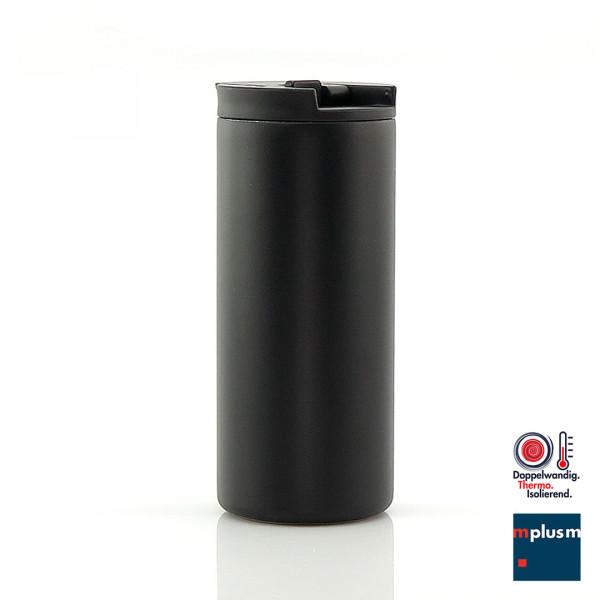 Auslaufsicherer Mehrweg Thermobecher mit Verschluss-Verrigelung. Ab 25 Stück mit Logo zu bedrucken