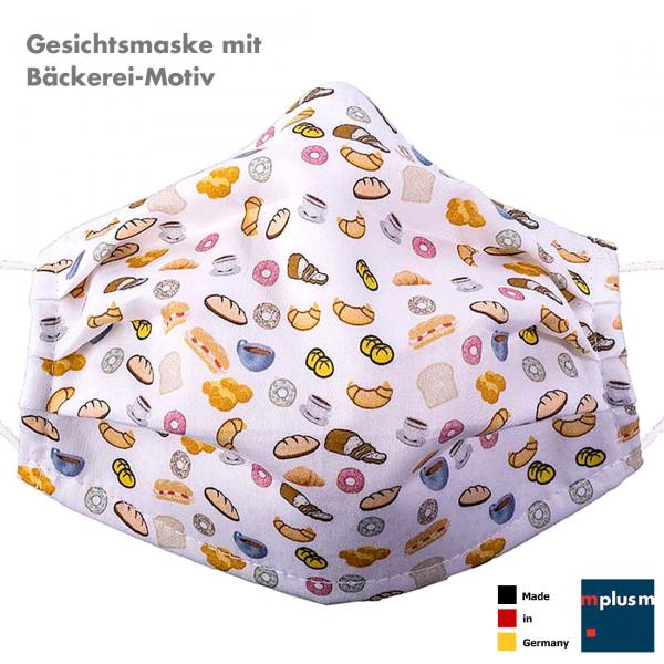 Gesichtsmaske mit 'Bäckerei' Motiv