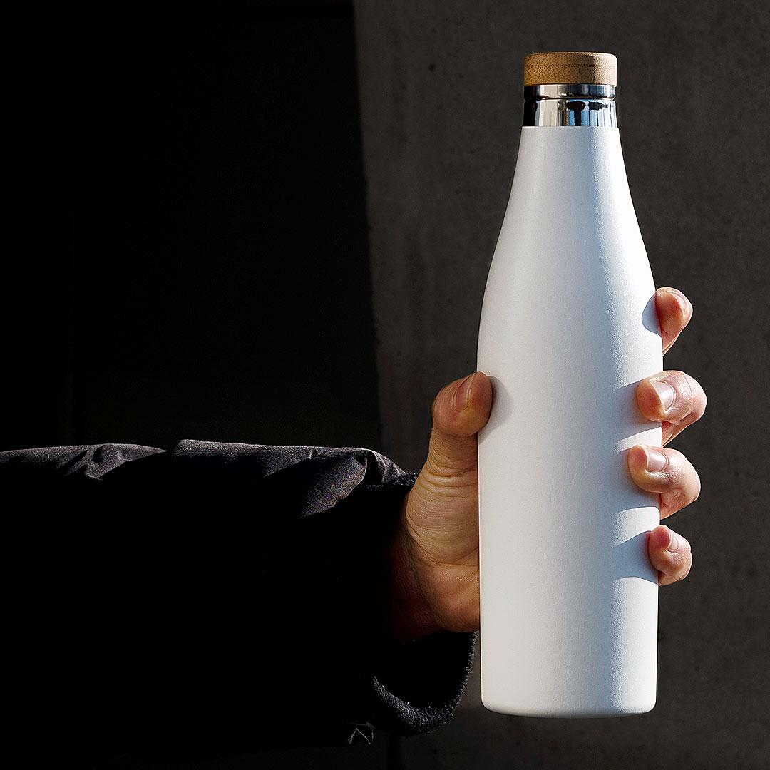 Weisse SIGG Isolierflasche mit Logo Druck