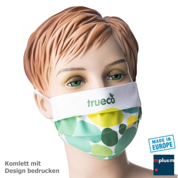Gesichtsmaske perfekt mit eigenem Design bedrucken: Aus Europa und vollflächig und vollfarbeir.