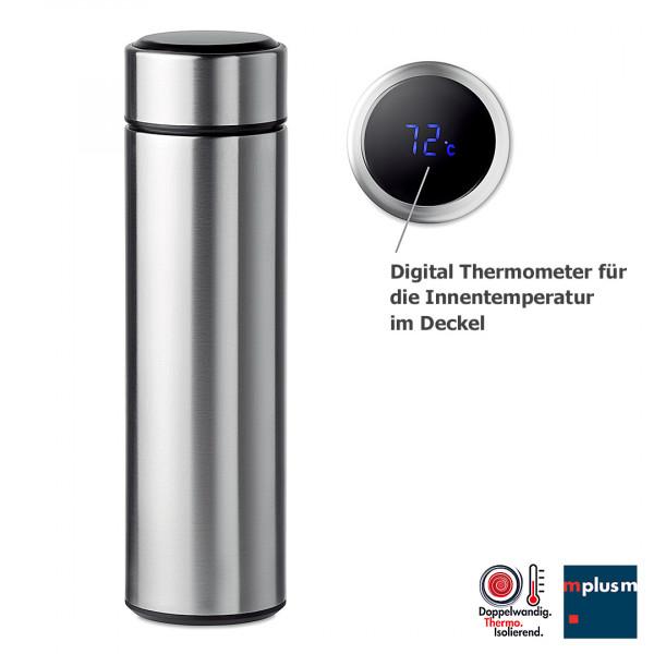 Tee Thermosflasche mit integriertem Digital Thermometer als Werbeartikel
