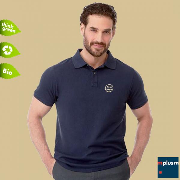 Pflegeleicht und nachhaltig: Polohemd aus Bio Baumwolle und Recycling Material. Mit Logo Druck oder Stickerei.
