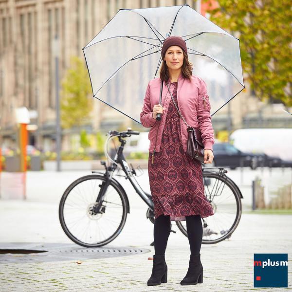 Schöner durchsichtiger Regenschirm Twiggy mit Logo bedrucken