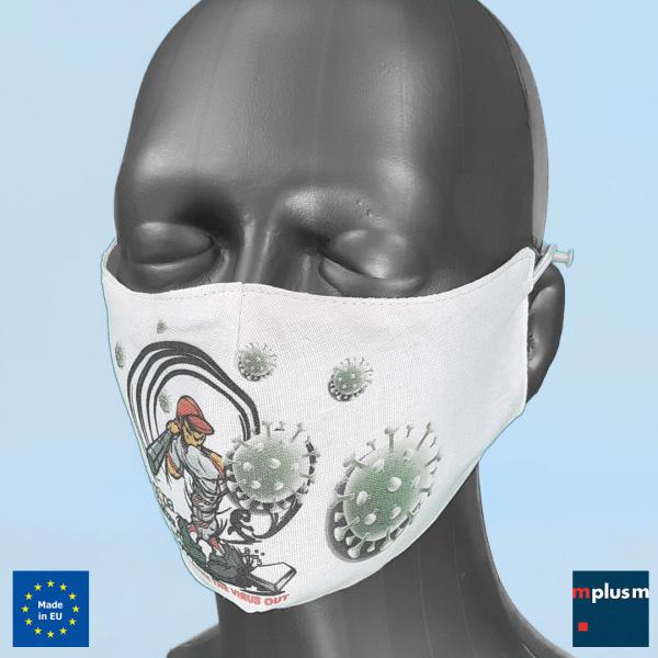 Preiswerte Gesichtsmaske oder Community Maske mit Design zu bedrucken. Hergestellt in Europa. Kurze Lieferzeit. Preiswert.