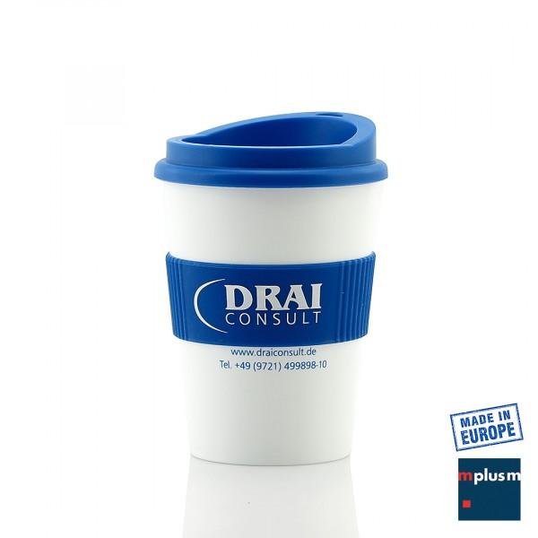 Der Mehrweg Kaffee-Becher Lungo wird in Europa mit Logo-Druck hergestellt