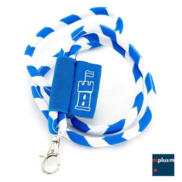 Schlüsselband aus feiner Tube Kordel mit Logo auf gewebtem Etikett