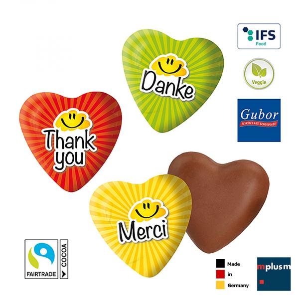 Kleine Schoko Herzen aus Fairtrade Schokolade mit Danke Motiv als Dankeschön Give Away