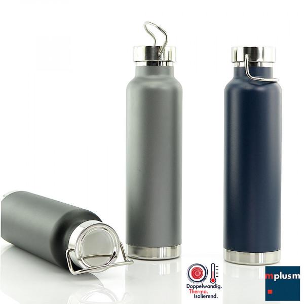 Super isolierende Thermosflasche aus Edelstahl. Doppelwandig, unzerbrechlich, langlebig. Mit Logo zu bedrucken: ein nachhaltiger Werbeartikel.