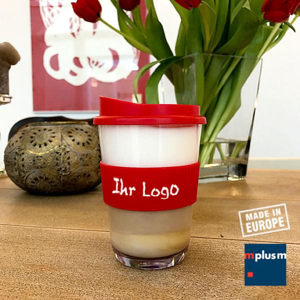 Trransparenter Mehrwegbecher für Coffee To Go. Nachhaltiger Werbeartikel.