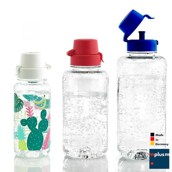 Nachhaltig aus Deutschland und ab 50 Stück schön zu bedrucken. Diie Trinkflasche Aqua 'Sport' ist spülmaschinenfest.