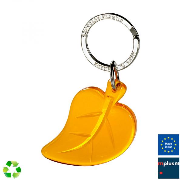 Schöner Schlüsselanhänger in Blattform mit eigenem Logo bedrucken. Made in Europe.