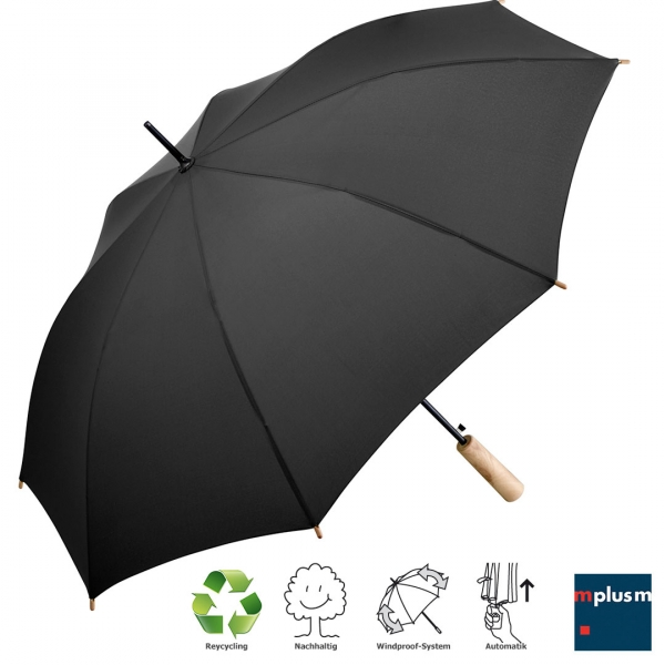 Recycling 'Lillehammer' Regenschirm Ökobrella mit Echtholzgriff in schwarz als Werbeartikel