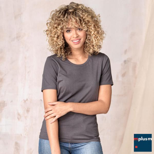 Graues Damen T-Shirt mit Rundhalsausschnitt als Werbegeschenk