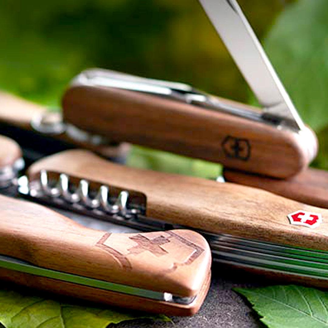 Victorinox Messer mit Holzschale bedrucken