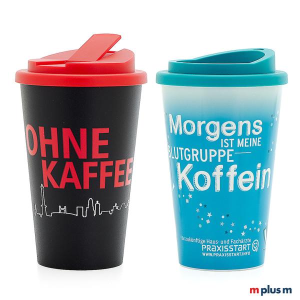 Mehrweg Kaffeebecher individuell bedrucken. Aus Europa.