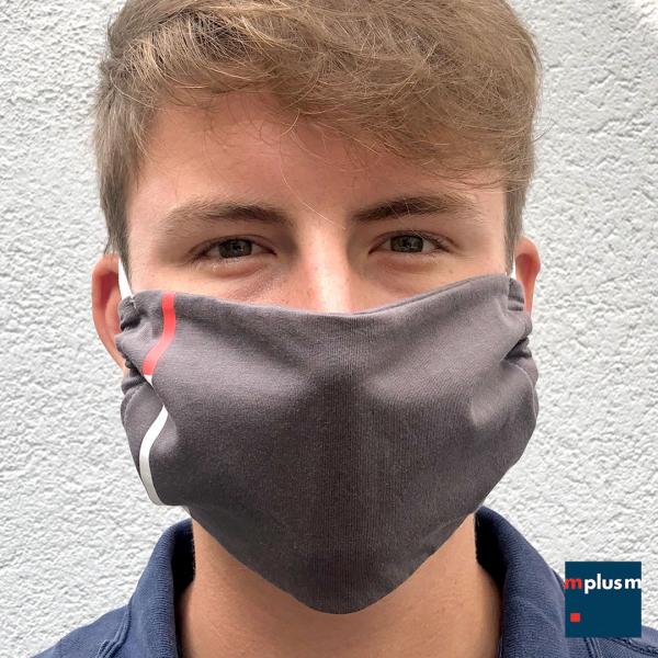 Gesichtsmaske aus weichem Baumwollstoff in Wunschfarbe. Einheitsgröße und mit verstellbaren Ohrschlaufen. Sehr gut mit Logo zu bedrucken.