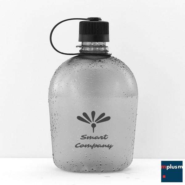 Besondere Trinkflasche aus Tritan Kunststoff. Große Feldflasche, als Werbeartikel mit Logo zu bedrucken