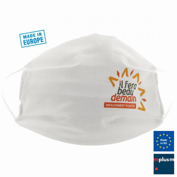 Hilft bei Corona: Doppellagige Stoffmaske mit eigener Filtertasche. Hergestellt in Europa und gut mit Logo zu bedrucken.