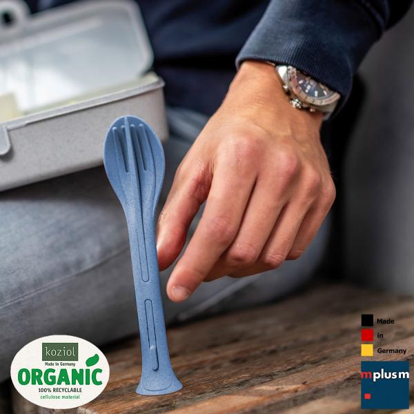 Handliches Mehrwegbesteck Klikk To Go aus Organic Bio-Kunststoff von Koziol. Nachhaltiger Werbeartikel und gut mit Logo zu bedrucken