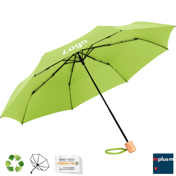 Nachhaltiger Taschen Schirm mit Recycling Textil Bezug und Logo Druck.