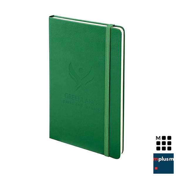 Moleskine Notizbuch Hardcover L in Farbe Grün mit Logo Prägung