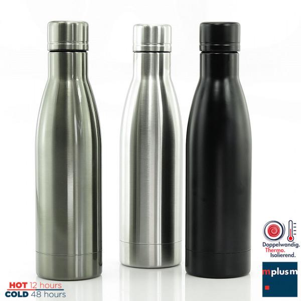 Thermosflasche mit Super-Isolierung. 24 Stunden heiss oder 48 kalt. Sehr gut mit Logo zu bedrucken.