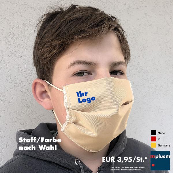 Gesichtsmaske Angela aus Deutschland. Baumwolle, in vielen Farben lieferbar und gut mit Logo zu bedrucken. Kein medizinnischer Mundschutz.