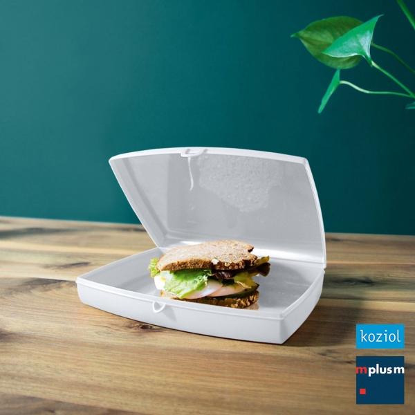 Flache Lunchbox To Go 'Panorama' von Koziol. Sehr schön mit Logo zu bedrucken.