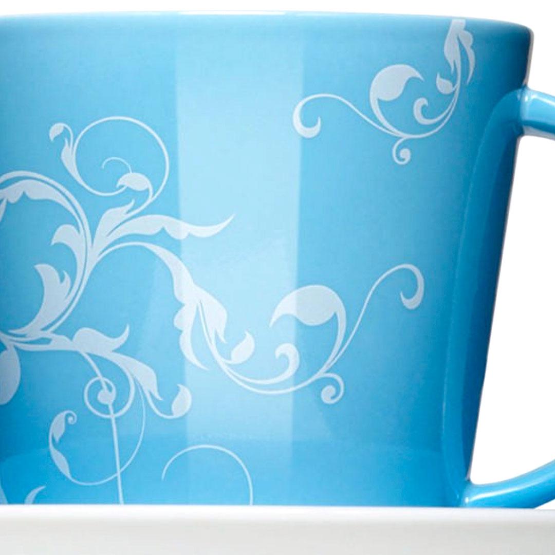 Blaue Porzellantasse mit eigenem Design bedrucken