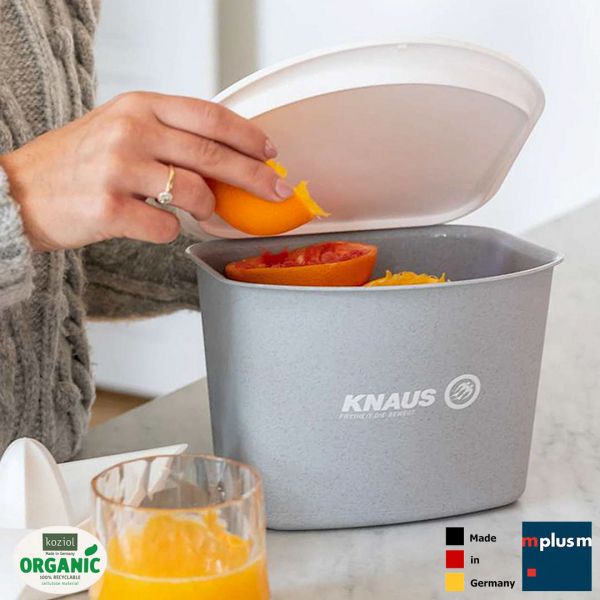 Nachhaltiger Werbeartikel aus Deutschland: Abfall Box Bibo von Koziol. Aus Bio Kunststoff und gut mit Logo zu bedrucken.