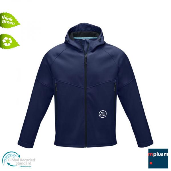 Dunkelblaue Softshell Jacke. Nachhaltiger Werbeartikel aus Recycling Material mit Firmen Logo