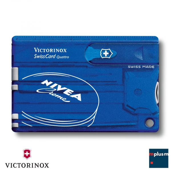 Schweizer Taschenmesser flach und praktisch. Swiss Card Quattro der praktische Werbeartikel. Hochwertig und preiswert. Ab 50 Stück mit Logo bedrucken.