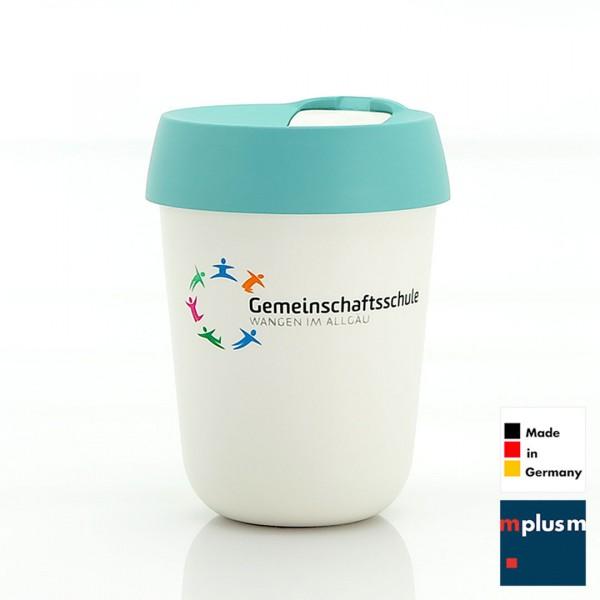 Coffee To Go Mehrwegbecher aus Deutschland mit mehrfarbigem Logo