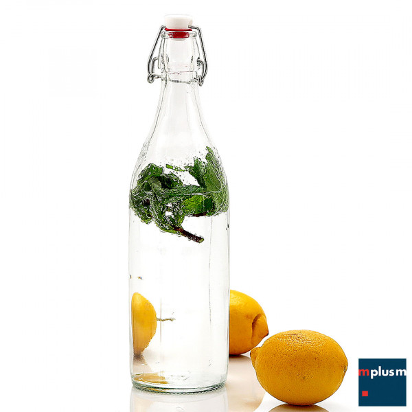 Die klassische Bügelverschlussflasche aus Glas wird in Deutschland mit Ihrem Logo oder Motiv bedrucken.