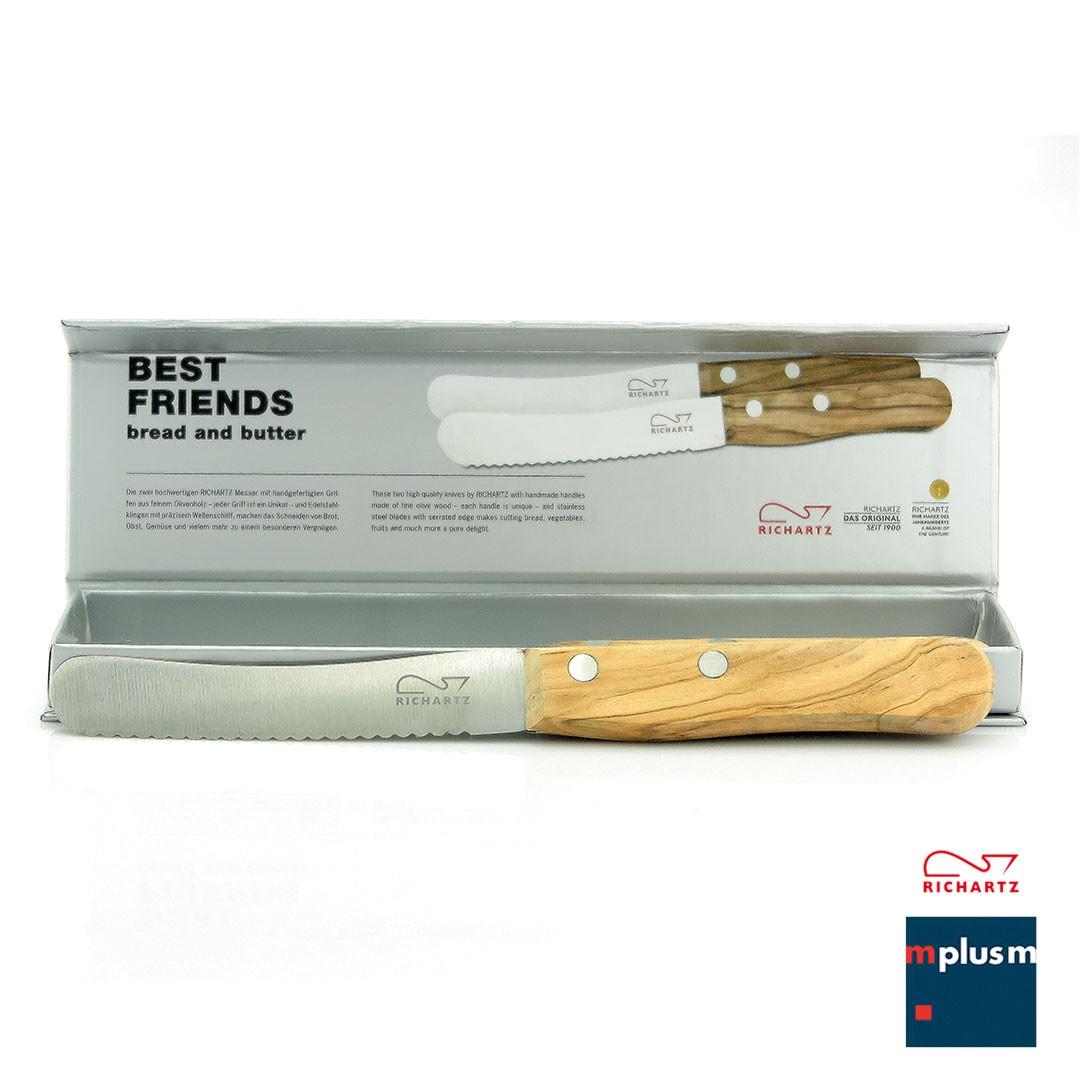 Brötchenmesser mit Olivenholz Griffen von Richartz mit Logo bedruckt als Werbeartikel